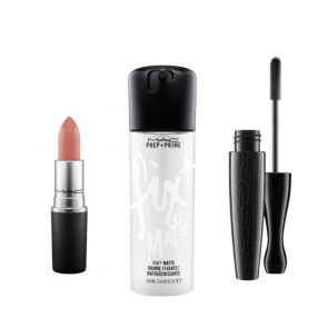 Super Stars Matte Lipstick Velvet Teddy Prep + Prime Fix + In Extreme Dimension 3D Black Lash Mascara